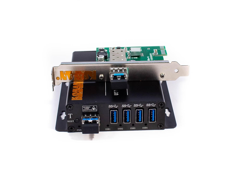 Плата расширения PCI-express и удалённый блок удлинителя USB 3.0 по оптоволокну